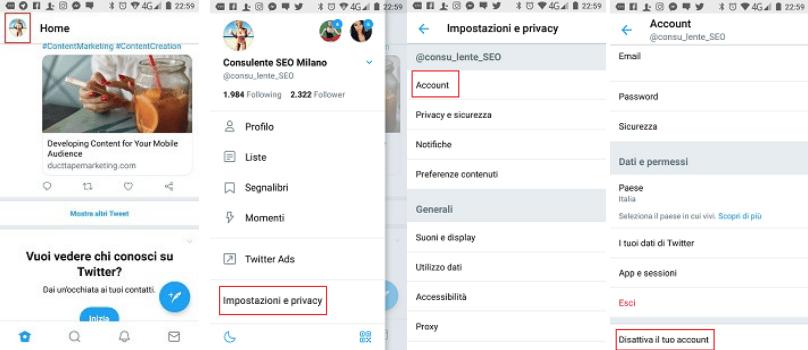 Se vuoi eliminare il tuo account Twitter da Mobile ascolta la mia voce