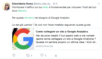 Il mio profilo Twitter si chiama Erboristeria Roma