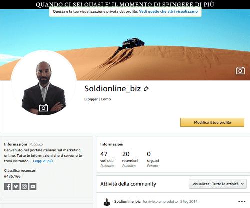 Adesso voglio spiegarti come compilare un profilo Amazon