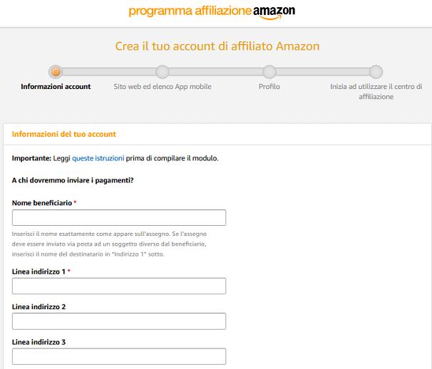 La prima schermata delle informazioni account affiliazione Amazon ti permette di inserire alcune informazioni basilari