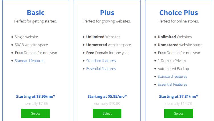 Ti chiedo cortesemente di dare uno sguardo ai piani di hosting Bluehost