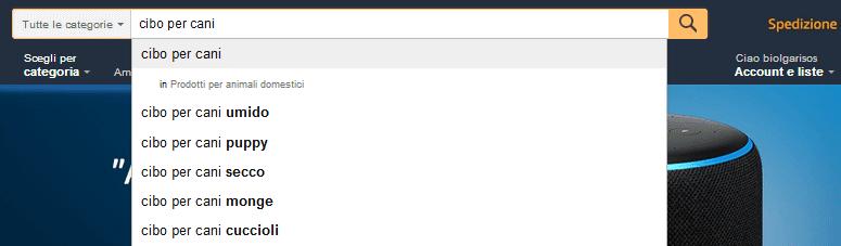 Nella schermata principale di Amazon trovi la barra di ricerca