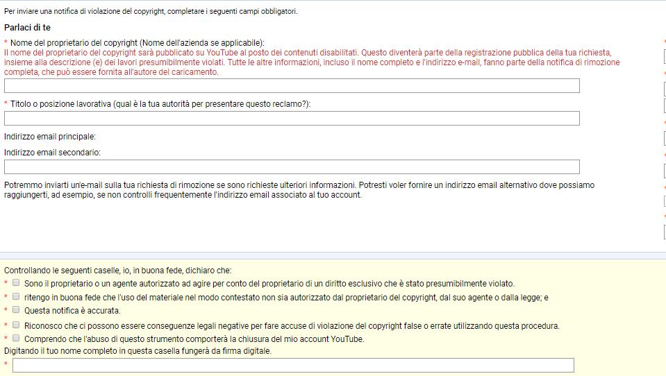 Vorrei condividere con te il modulo di segnalazione per violazione del Copyright su Youtube