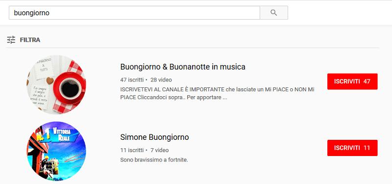 Guardando con attenzione i risultati di ricerca di Youtube certamente puoi trovare ciò che cerchi