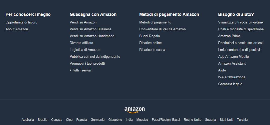 Il Footer di Amazon sicuramente è fatto molto bene