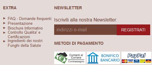 Per favorire l' iscrizione alla newsletter usa il footer del tuo sito WordPress