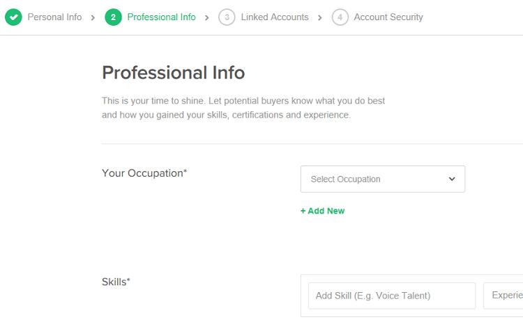 Nella sezione professional Info di Fiverr dovrai inserire le tue informazioni professionali