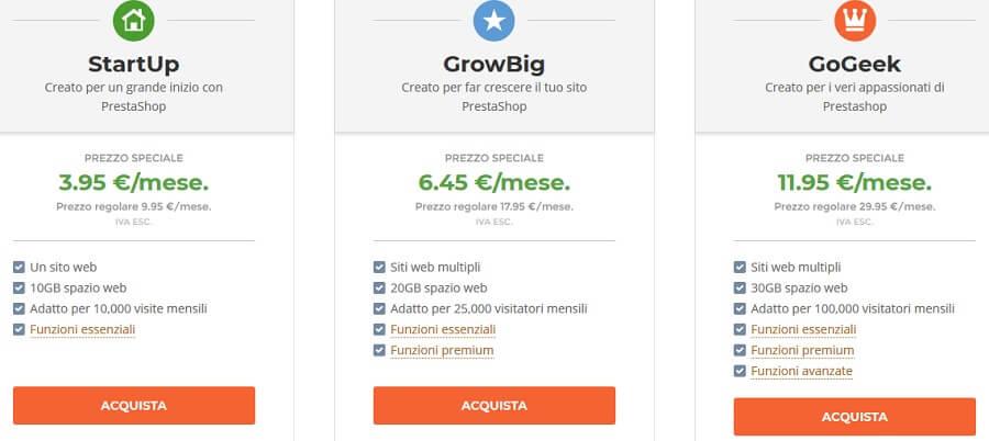Ti chiedo gentilmente di osservare i piani hosting Siteground ottimizzati per Prestashop