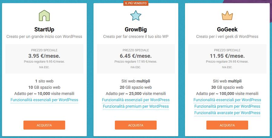 Adesso ti spiego subito quali sono i prezzi di Siteground