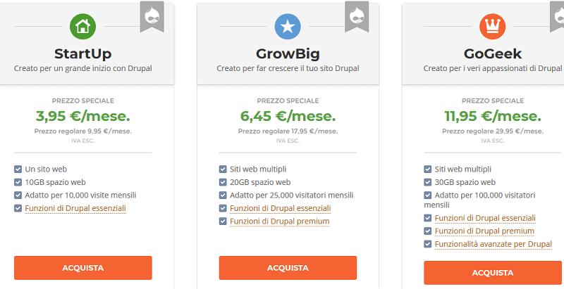Prezzi Siteground Drupal