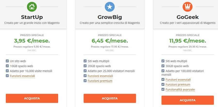 Prezzi Siteground Magento